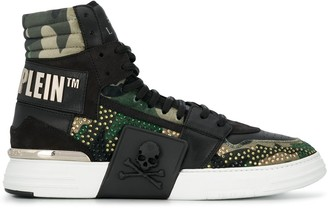 Philipp Plein Camouflage-Print High-Top Sneakers