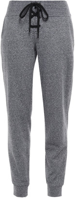 DKNY Printed Melange French Cotton-blend Terry Track Pants