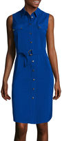 Liz Claiborne Sleeveless Button-Front Tie-Waist Shirtdress