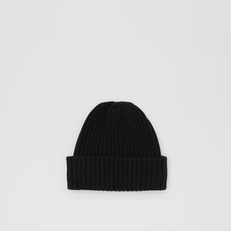 Burberry Icon Stripe Trim Rib Knit Cashmere Beanie
