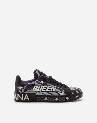 Dolce & Gabbana Calfskin Nappa Portofino Sneakers With Jungle Print