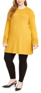 Alfani Plus Size Ribbed Tunic Sweater, Created for Macy's