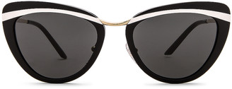 Prada Acetate Cat Eye Sunglasses in Black & White | FWRD