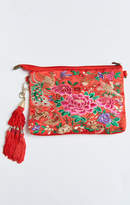MUMU Embroidered Clutch Bag With Tassel ~ Red