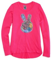 So Nikki... Girls' Peace Sign Appliqué Waffle Knit Tee - Sizes S-XL
