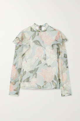 Jason Wu Collection Pussy-bow Ruffled Floral-print Silk-crepon Top - Light gray