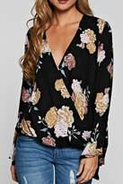 Love Stitch Floral Surplice Top