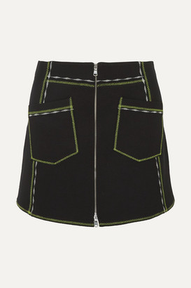McQ Embroidered Stretch-jersey Mini Skirt - Black