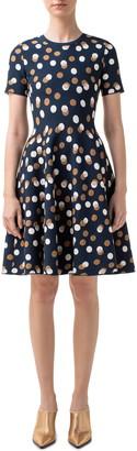 Akris Punto Gold Leaf Dot Knit Fit & Flare Dress
