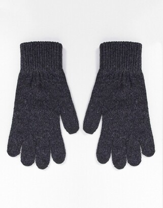 ASOS DESIGN recycled polyester touch screen gloves in in charcoal grey