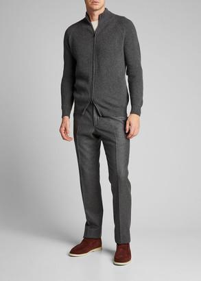 Loro Piana Men's Ashington Ribbed Cashmere Full-Zip Sweater