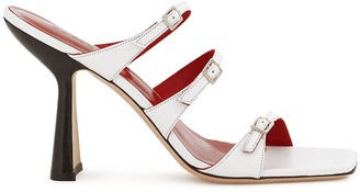 BY FAR Malene 100 white leather sandals