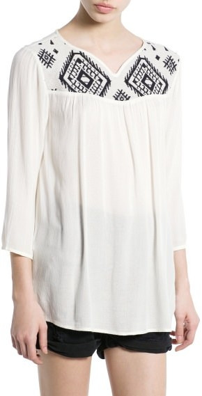 MANGO Outlet Ethnic Embroidery Blouse