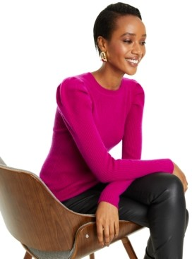 Charter Club Puff-Sleeve Ribbed Cashmere Sweater, Regular and Petite Sizes, Created for Macy's