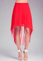 Bebe Pleated High Low Skirt