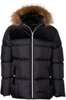 Limited Too Girls' Puffer Coats BLACK - Black Faux Fur Velvet-Yoke Hooded Puffer Coat - Toddler & Girls