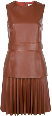 Oscar de la Renta Sleeveless Layered Pleated Dress