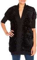 Adrienne Landau Real Rabbit Fur & Knit Cardigan
