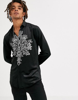 Twisted Tailor super skinny velvet shirt with chest print in black