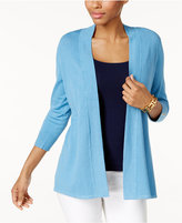 Charter Club Honeycomb-Stitch Open-Front Cardigan, Created for Macy's