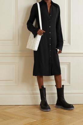 Acne Studios - Satin-trimmed Crepe Shirt Dress - Black