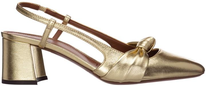 Gold Block Heel Pump | Shop the world's
