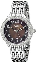 Akribos XXIV Women's AK831SSBR Quartz Movement Watch with Brown Dial Featuring a Crystal Filled Bezel and Silver Bracelet