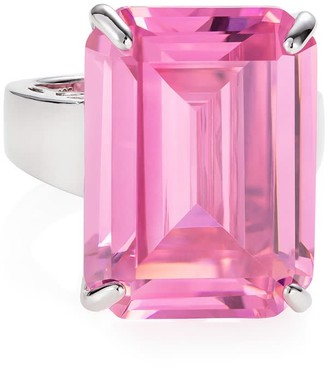 Hendrikka Waage Sterling Silver Ring With Pink Zirconia Stone