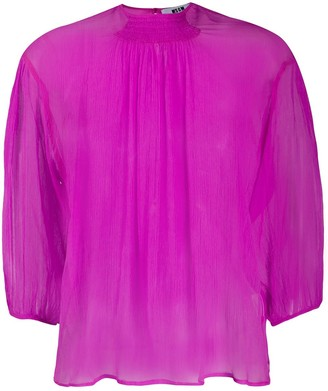 MSGM Silk Cropped Sleeve Blouse