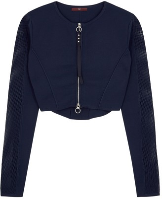 High Halftime Navy Panelled Cropped Cardigan