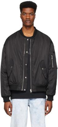 Stolen Girlfriends Club SSENSE Exclusive Reversible Black Glitter Logo Bomber Jacket