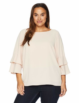 Calvin Klein Women's Plus Size 3 Tier Sleeve Textured Blouse