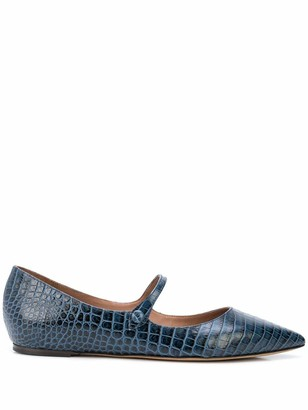 Tabitha Simmons Pointed Crocodile Embossed Flats