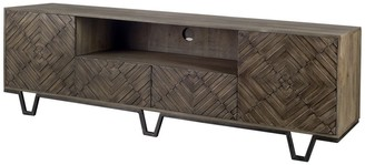 "Mercana Home Argyle II Medium Brown Wood and Metal TV Stand Media Console with Storage, TV up to 75"" - 76.0L x 18.0W x 24.0H"