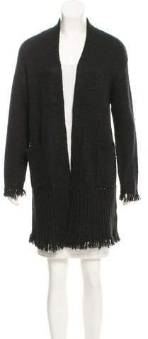 Velvet Fringe-Trimmed Open Knit Cardigan w/ Tags
