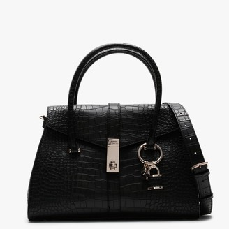 GUESS Asher Black Moc Croc Satchel Bag