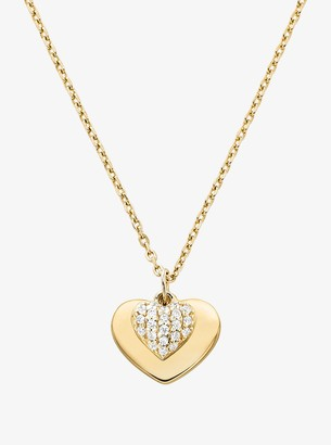 Michael Kors Precious Metal-Plated Sterling Silver Pave Heart Necklace