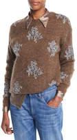 Brunello Cucinelli Mohair-Alpaca Crewneck Sweater with Sequin-Lace Applique