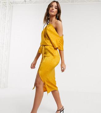 Flounce London drape off shoulder midi dress in golden yellow