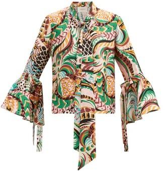 La DoubleJ Happy Wrist Bell-sleeve Peacock-print Silk Blouse - Multi