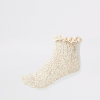 River Island Gold frill cable knit socks