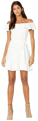 BCBGeneration Day Short Sleeve Woven Dress - TTC6302312 (Optic White) Women's Dress
