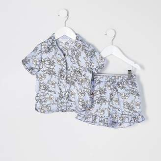 River Island Mini girls blue printed satin pyjamas