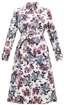 Erdem Lawrence Rose Blossom-print Trench Coat - Womens - White Multi