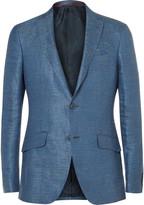 Etro Blue Slim-Fit Slub Linen Blazer
