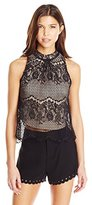 Love love, FiRE Women's Mock-Neck Sleeveless Lace Top