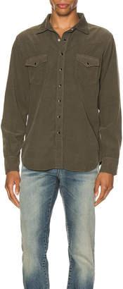 Saint Laurent Classic Western Corduroy Shirt in Khaki Rinse | FWRD