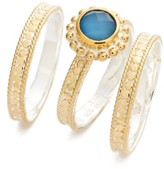 Anna Beck Women's Blue Quartz Set Of 3 Stack Rings