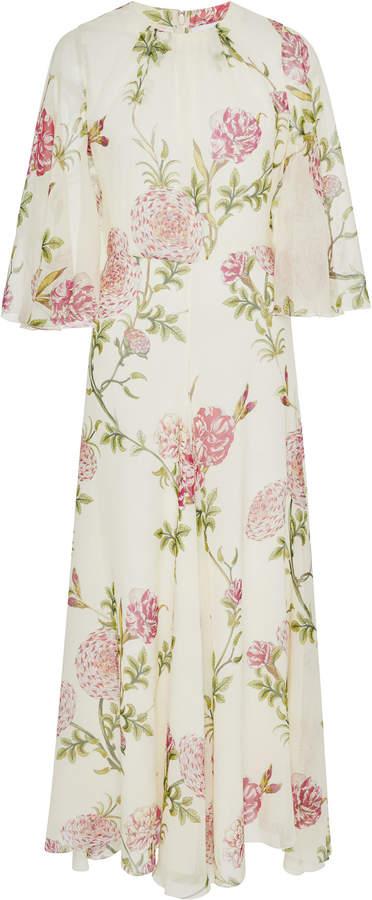 Giambattista Valli Floral-Print Silk-Chiffon Midi Dress