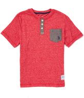 U.S. Polo Assn. Red Marled Short-Sleeve Henley Tee - Boys